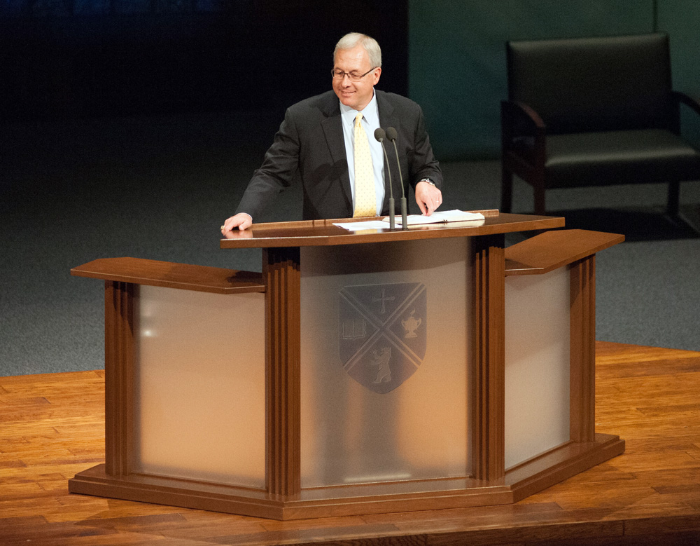 The new BJU pulpit in use